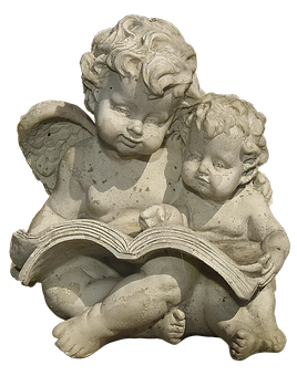 Figure, Angel, Putten, Sitting, Book, Read, Ceramic