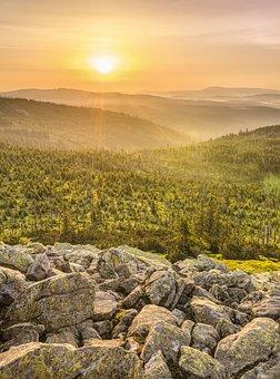 Lusen, Sunrise, Landscape, Morgenrot, Skies, Nature