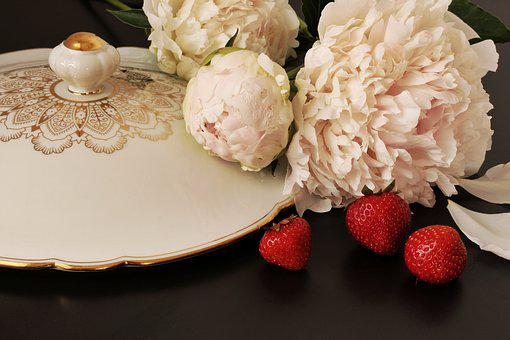 Paeony, Peony, Still Life, Strawberries, Noble, White