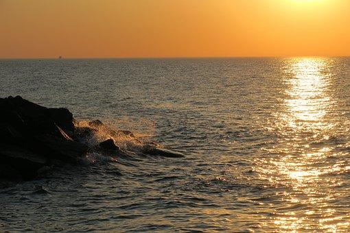 Sunset, Baltic Sea, Sea, Sun, Water, Twilight, Dusk