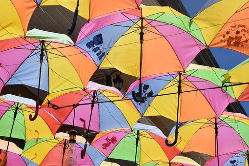 Sunshine, Brollies, Umbrellas, Colour, Summer, Tropical