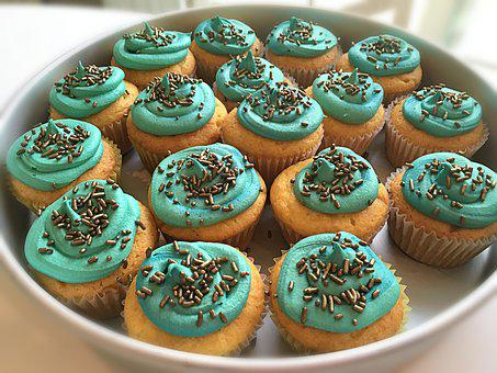 Cupcakes, Teal, Cake, Food, Sweet, Frosting, Dessert
