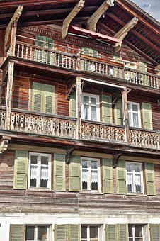 Facade, Wooden, Swiss, Balcony, Antique, Architecture