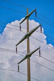 Strommast, Wölken, Electricity, Power Poles