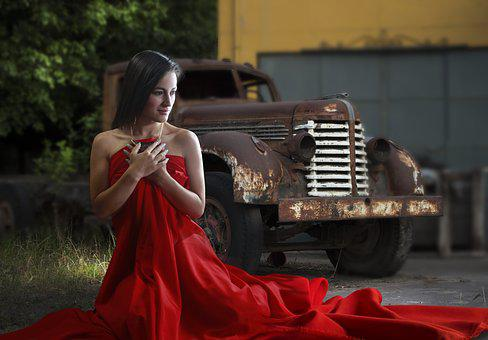 Woman And Car, Red Cloth, Red Dress, Classic Auto