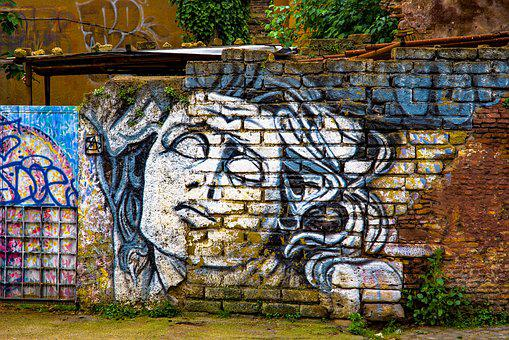 Graffiti, Tag, Paint, Brick Wall, Painting, Woman, Face