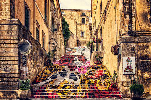 Sicily, Noto, Old Town, Italy, Street Art, Alley