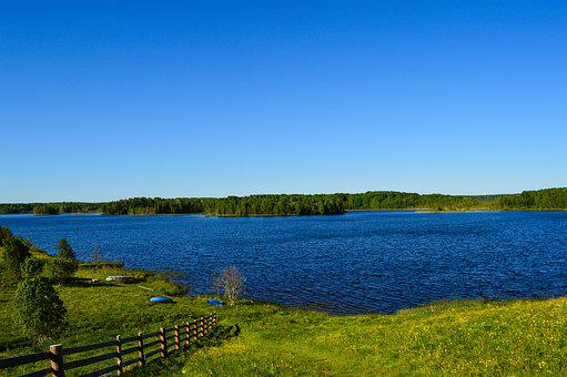 Lake, Panorama, North, Landscape, Hill, Bay, Horizon