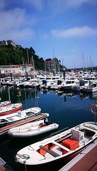 Fishing Boats, Blue Sky, Fishermen, Port, Motrico