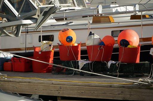 Buoy, Fishing, Industry, Colorful, Orange, Harbor