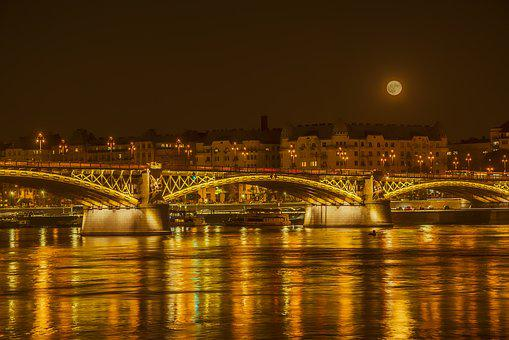 Full Moon, Bridge, Danube, Moon, River, Moonlight