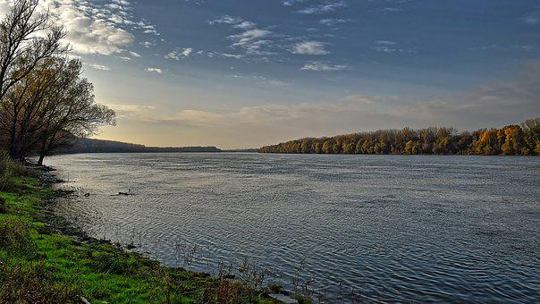 Danube River, Powerful, Wide, Water, Landscape, Europe