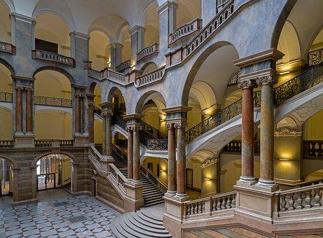 District Court, Munich, Bavaria, Stairs, Emergence