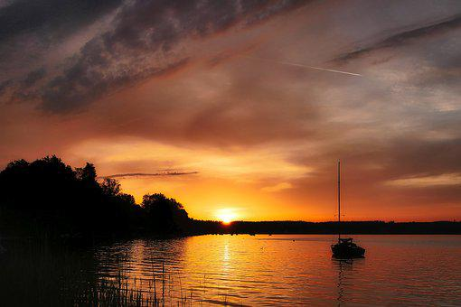 Lake, Sunset, Abendstimmung, Evening, Water, Romance