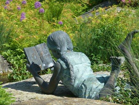Gartendeko, Bronze Statue, Girl, Read