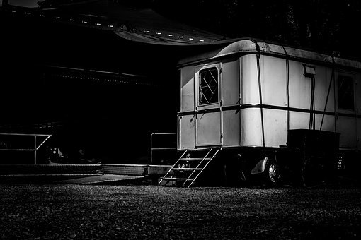 Circus, Fair, Trailer, Trailers, Caravan, Gloomy