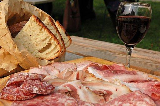 Cold Cuts, Salami, Ham, Wine, Bread, Chopping Board
