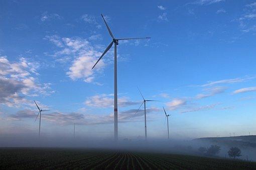 Windräder, Landscape, Nature, Fog, Sky, Wind Power