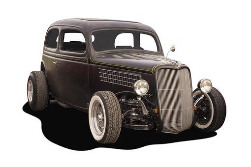 Hot Rod, Thirties, Custom, Modified, Black, Coupe, Car