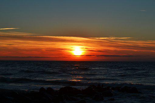 Sea, Sunset, Water, Denmark, North Sea, Evening, Clouds