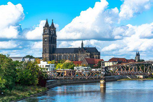 Magdeburg, Dom, River, Elbe, Water, Bridge, Old, City