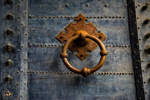 Door, Wood, Antique, Ancient, Metal Ring, Knocker, Rust