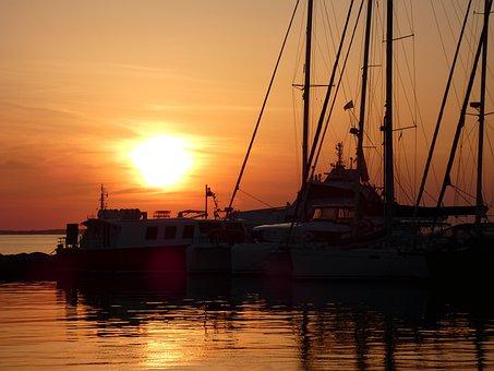 Greece, Port, Sunset, Rest, Ships