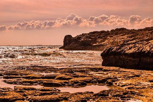 Rocky Coast, Sunset, Nature, Sea, Beach, Landscape