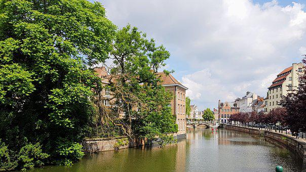 Lier, Belgium, City, View, Old Buildings, Water