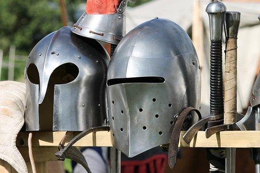 Armor, Ritterruestung, Sheet, Metal, Helmets, Visor