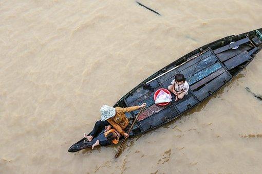 Tonle Sap Lake, Cambodia, Refugees, Ship, Wet, Water