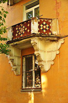 Old, Vintage, House, Balcony, Window, Russia, Grille