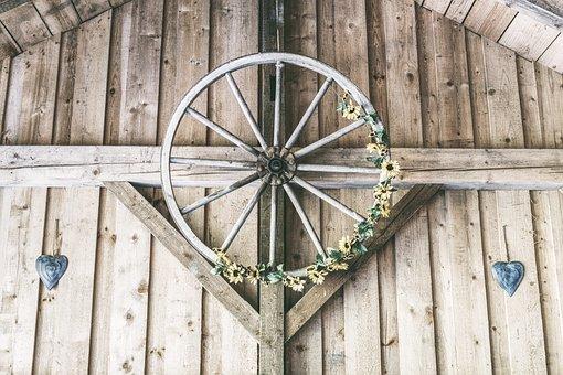 Wooden Wheel, Wheel, Wagon Wheel, Old, Wood