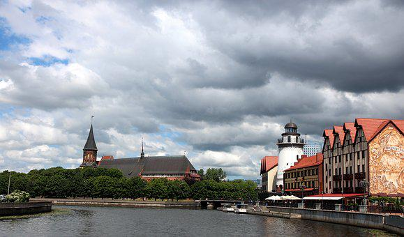 City, Kaliningrad, Clouds, River, At Home, Russia
