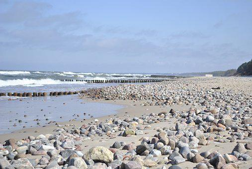 Beach, Sea, The Stones, Sky, Water, The Baltic Sea