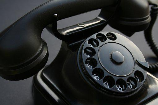 Telephone, Retro, Bakelite, Turntable, Black White