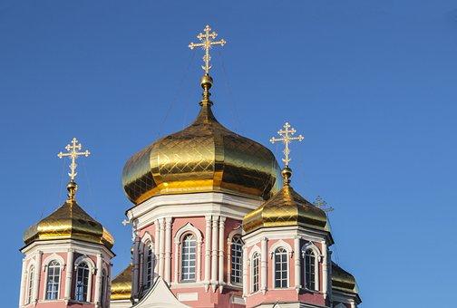 Golden Domes, Church, Blue Sky, Golden Dome