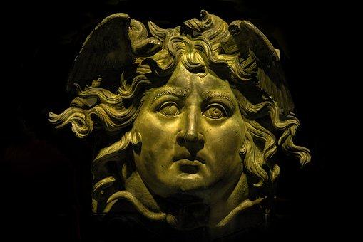 Gorgon, Medusa, Head, Face, Sculpture, Bronze