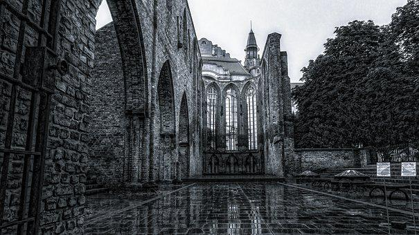 Sw, Ruin, Black And White, Mirroring, Building, Stone