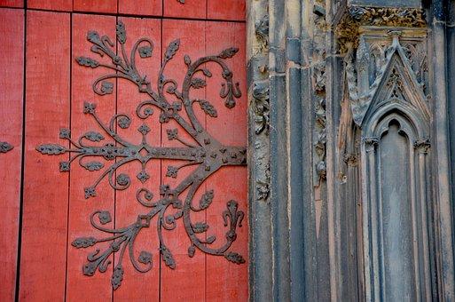 Iron, Door, Gothic, Church, Pink, Antique