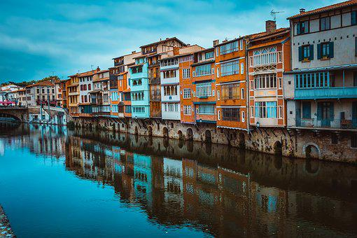 Tarn, Castres, France, City, River, Urban, Cityscape