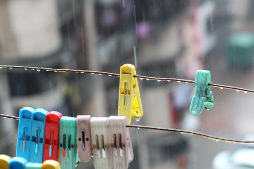 Rain, Clothespin, Hang, Water, Plastic, Laundry, Wet