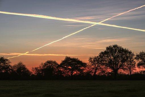 Sunrise, Chemtrails, Clouds, Sun, Dawn, Nature
