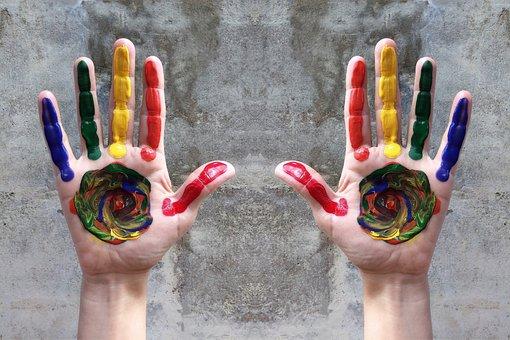 Hands, Rainbow, Diversity, Pride, Paint, Lgbt, Gay