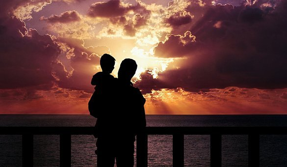 Father And Son, Happiness, Love, Standing, Child, Dusk