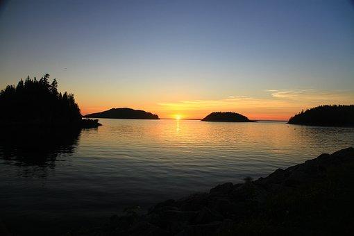 Twilight, Lying Sun, Sky, Islands, Evening