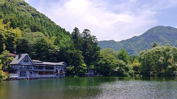 Lake, Building, Mountain, Landscape, Water