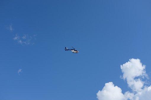 Sky, Clouds, Helicopter, Landscape, Blue