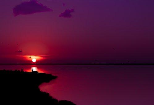 Sunset, Coastline, Landscape, Water, Ocean, Sea, Sky