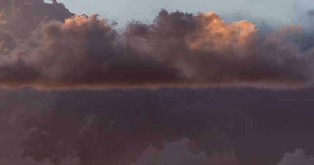 Sunset, Sky, Clouds, Cloudscape, Weather, Grey, Line